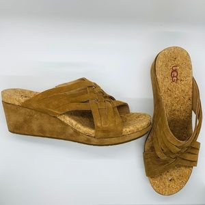 Ugg Lilah beige suede woven wedge sandal, size 8